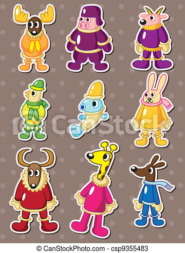 winter animal stickers  - csp9355483