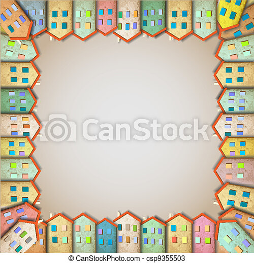Frame of colorful homes - csp9355503