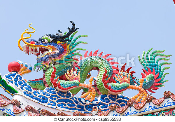 The Dragon status on roof of joss h - csp9355533