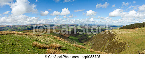 Wales scenic hills panorama, view from the Mynydd Epynt. - csp9355725