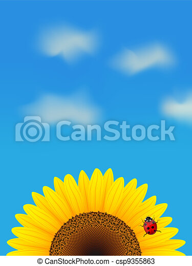 Sunflower and ladybird on blue sky. - csp9355863