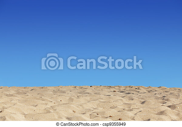 beach blue sky and sand background - csp9355949