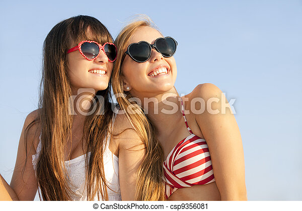 teens on summer vacation or spring break - csp9356081