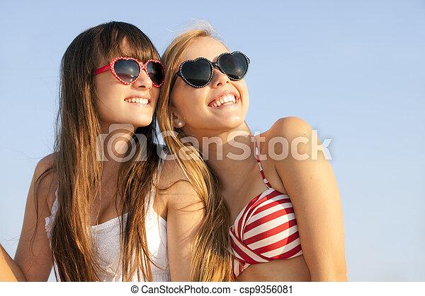 teens on summer vacation or spring break - csp9356081