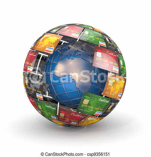 Earth in sphere from credit cards - csp9356151