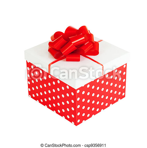 Red gift box isolated on white background included - csp9356911
