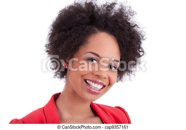 Closeup portrait of a beautiful african american woman - csp9357161