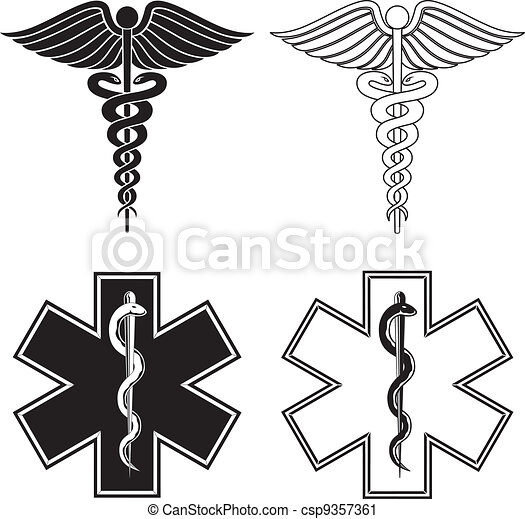 Caduceus and Star of Life - csp9357361