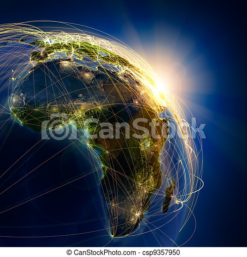 Main air routes in Africa - csp9357950