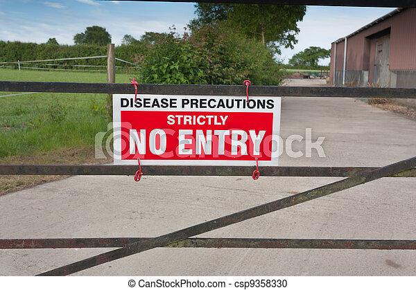 Disease Precautions No Entry Sign - csp9358330