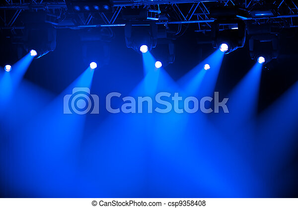 Blue stage spotlights - csp9358408