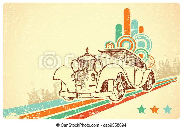 Vintage Car on Retro Background - csp9358694