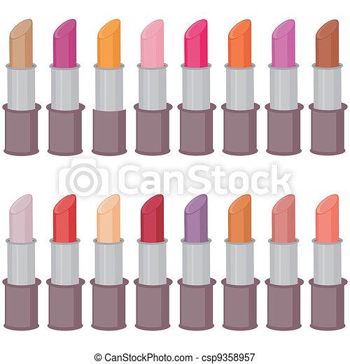 set with lipsticks on white - csp9358957