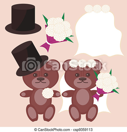 nice bears bridegroom and bride - csp9359113