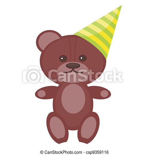 nice teddy bear in party cap - csp9359116