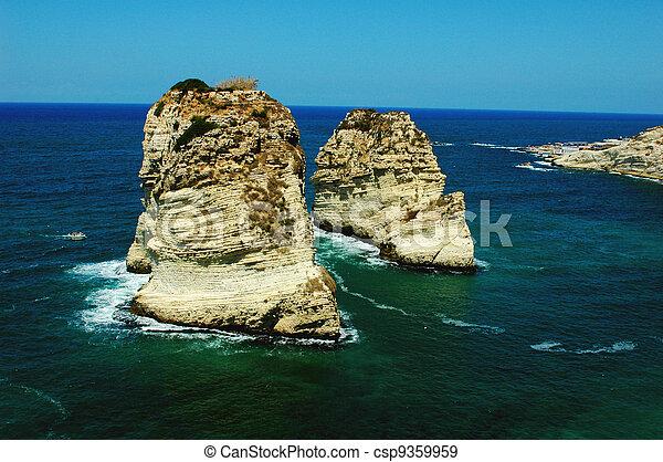 Pigeon Rocks, Beirut Lebanon - csp9359959