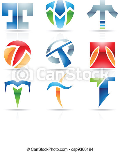 Glossy Icons for letter T - csp9360194
