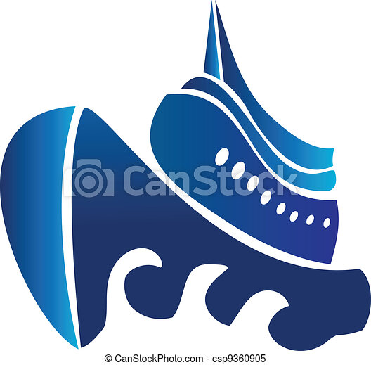 Sail ship cruise boat vector logo - csp9360905