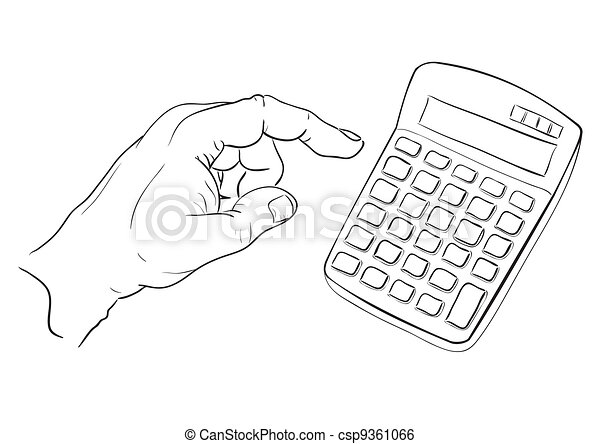 Mans hand pressing calculator button - csp9361066