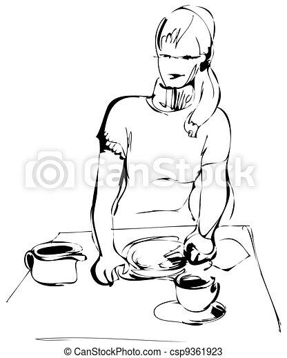 ayoung girl preparing breakfast - csp9361923