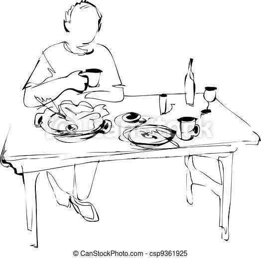 Vecteur clipart de homme mange table csp9361925 for Table a dessin