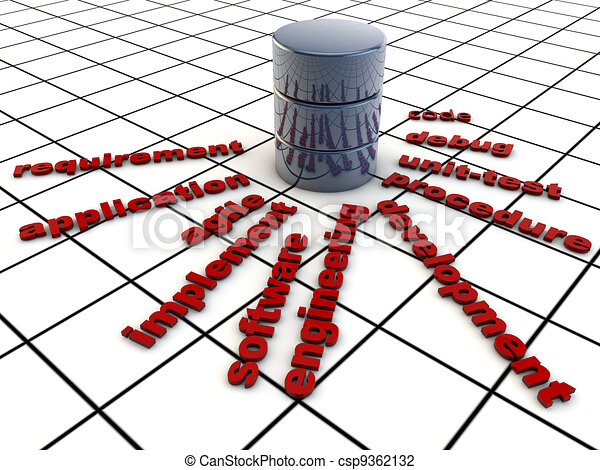 Software Development, symbolized over grid floor - csp9362132
