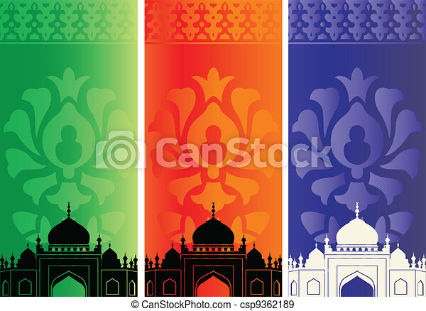 Islamic mosques and ornaments - csp9362189