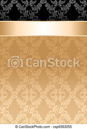 Background, gold ribbon, seamless floral pattern - csp9363055