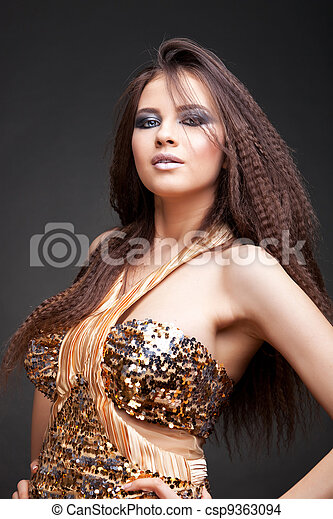 beautiful woman with long curly hair - csp9363094