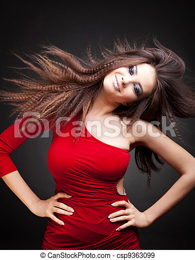 woman with long  hair in motion - csp9363099
