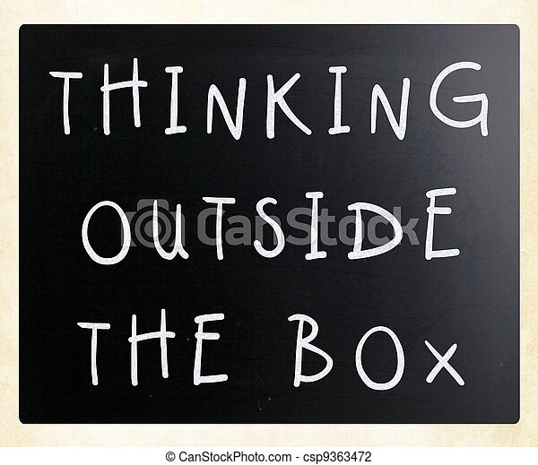 Thinking outside the box phrase, handwritten with white chalk on a blackboard - csp9363472