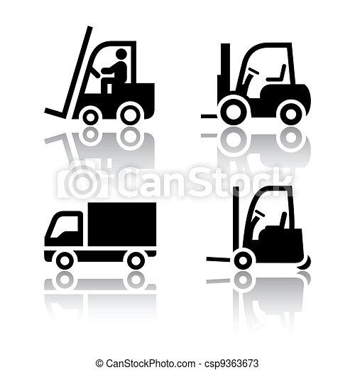 Set of transport icons - loader - csp9363673