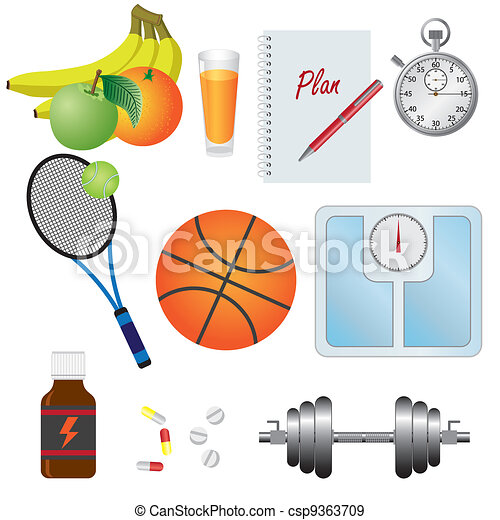 Set of objects for fitness. - csp9363709