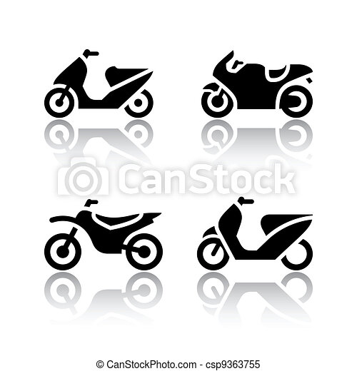 Set of transport icons - motorcycles - csp9363755