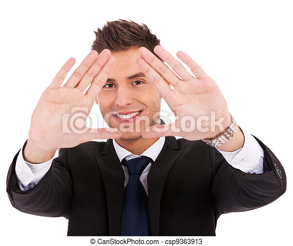business man making a hand frame - csp9363913