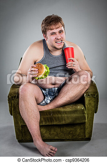 fat man eating hamburger - csp9364206