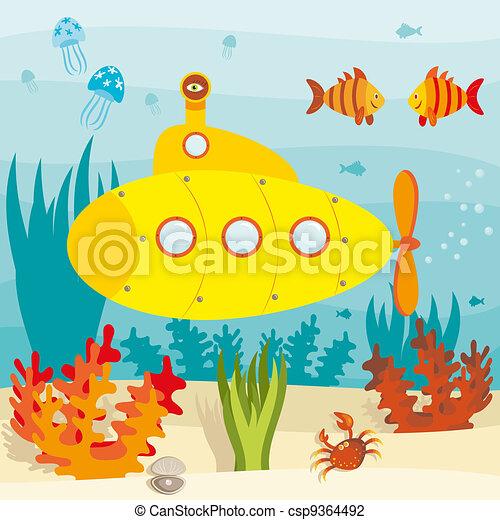 Submarine in ocean  - csp9364492