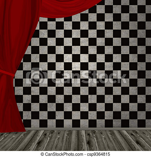 dark room with red curtain - csp9364815