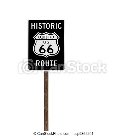 Tall Isolated Historic Route 66 Sign on Wood Post  - csp9365201