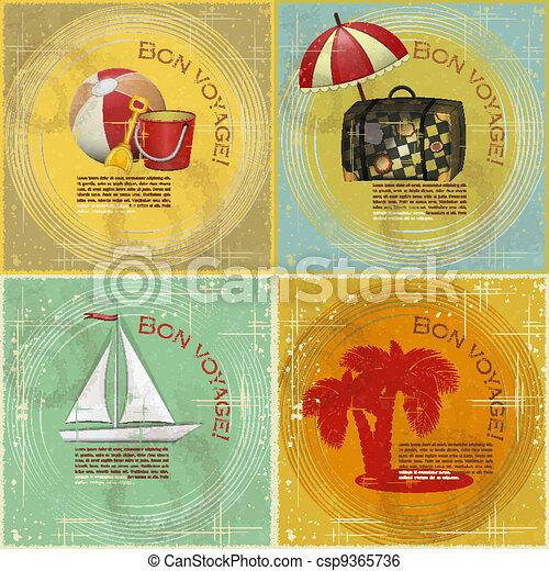 set of Vintage travel postcard - csp9365736