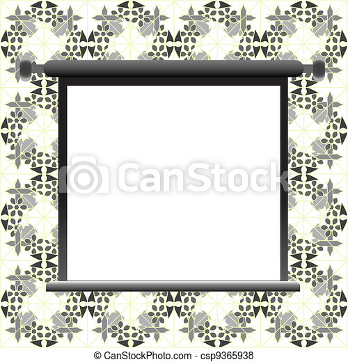 Blank billboard on floral wall for your advertisement - csp9365938