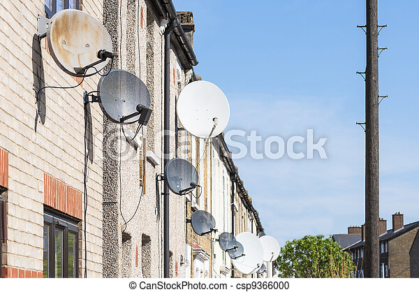Row of satellite dishes - csp9366000