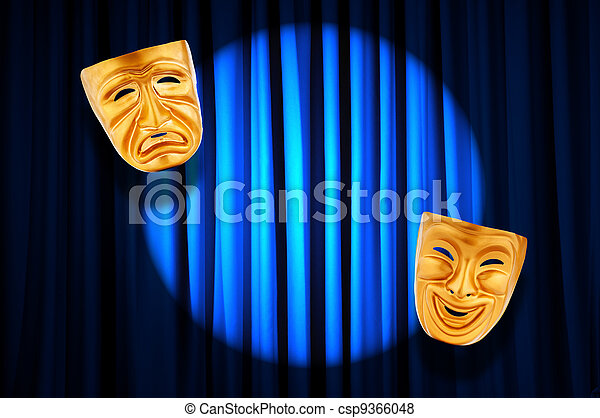 Theatre performance concept with masks - csp9366048