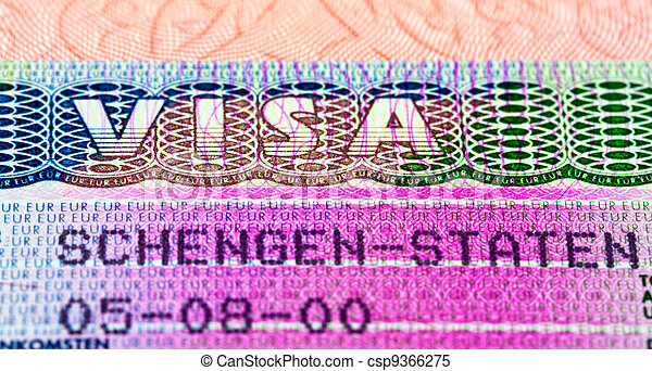 Schengen visa in passport. Fragment - csp9366275
