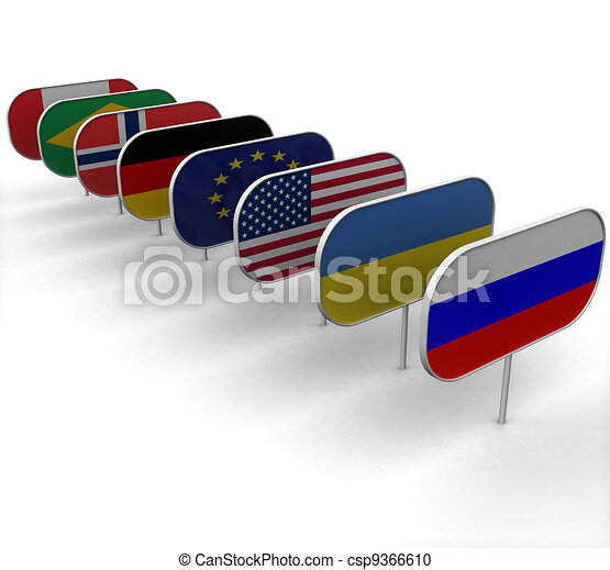 3d plaques depicting the flags on white background - csp9366610