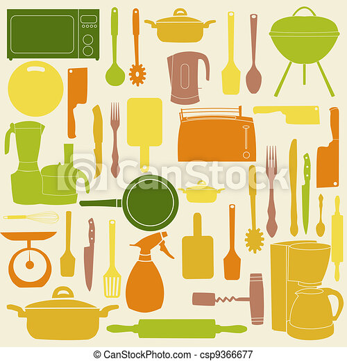 vector illustration of kitchen tools for cooking - csp9366677