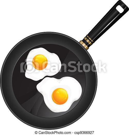 Fried eggs on pan - csp9366927