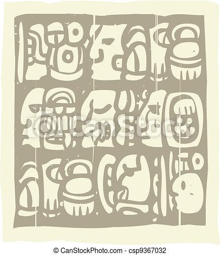Mayan Glyphs Woodblock - csp9367032