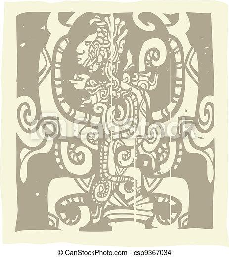 Mayan Woodblock Vision Serpent - csp9367034