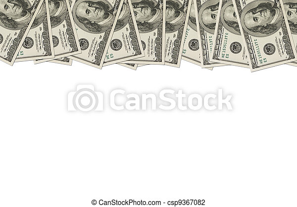 Money Border of hundred dollar bills - csp9367082